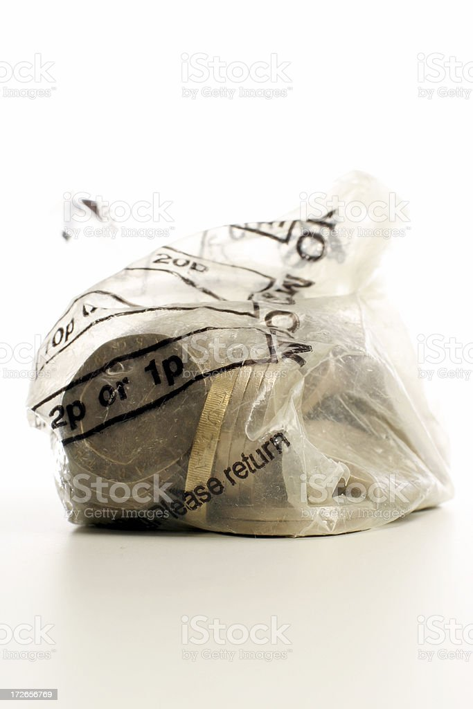 Bag of coins royalty-free stock photo