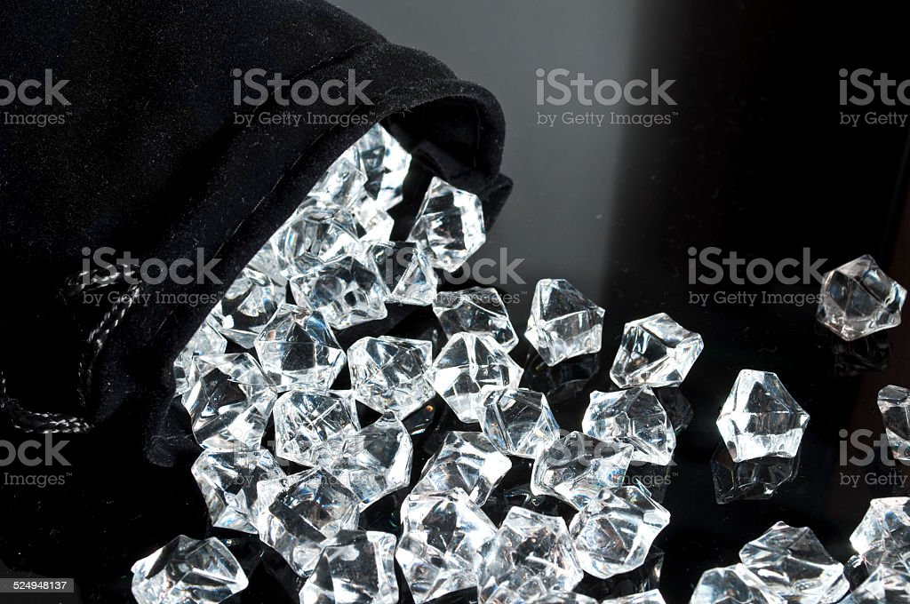 Bag of diamonds stock photo