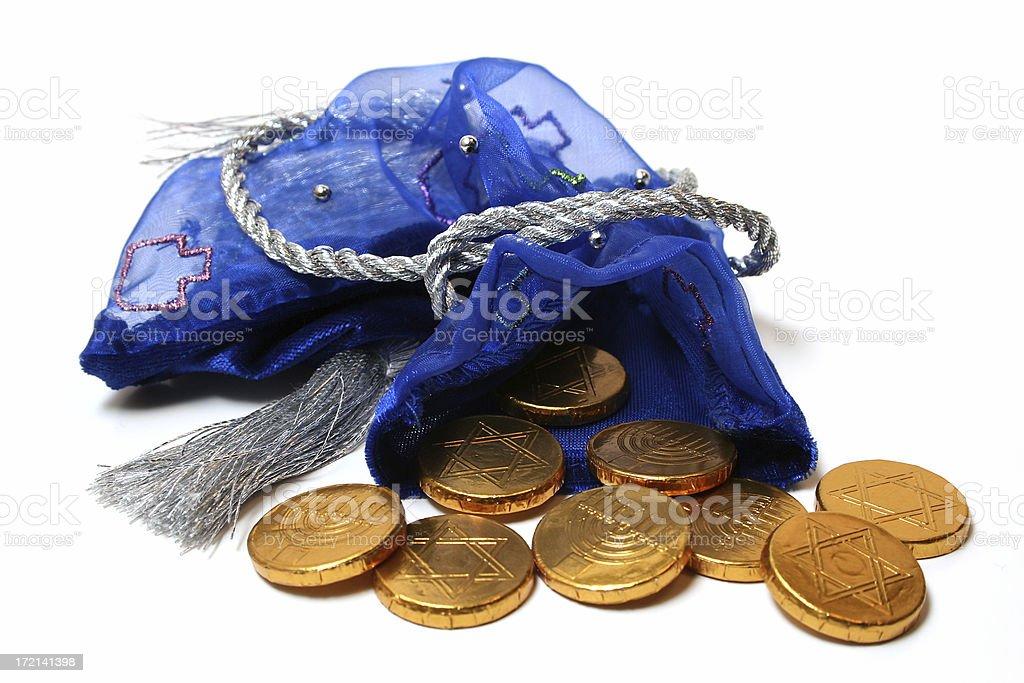 Bag of Gold Chocolate Gelt stock photo