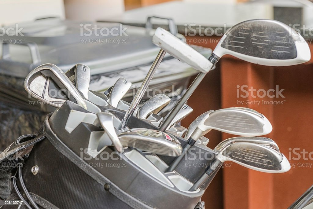 Bag of golf clubs. South Africa, November 2014. royalty-free stock photo