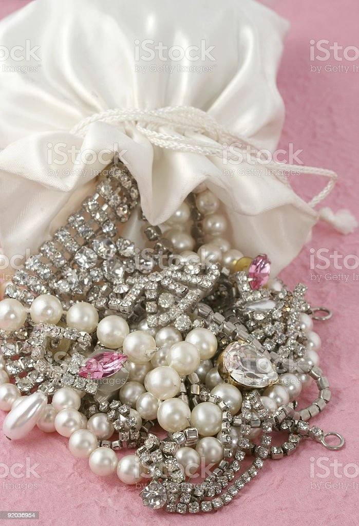 bag of jewels stock photo