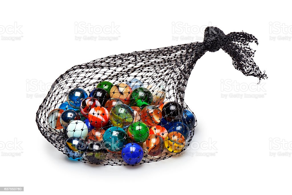 Bag of Multicolored marbles isolated - Photo