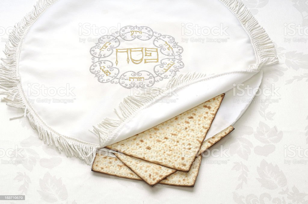 bag of passove embroidered matzo stock photo