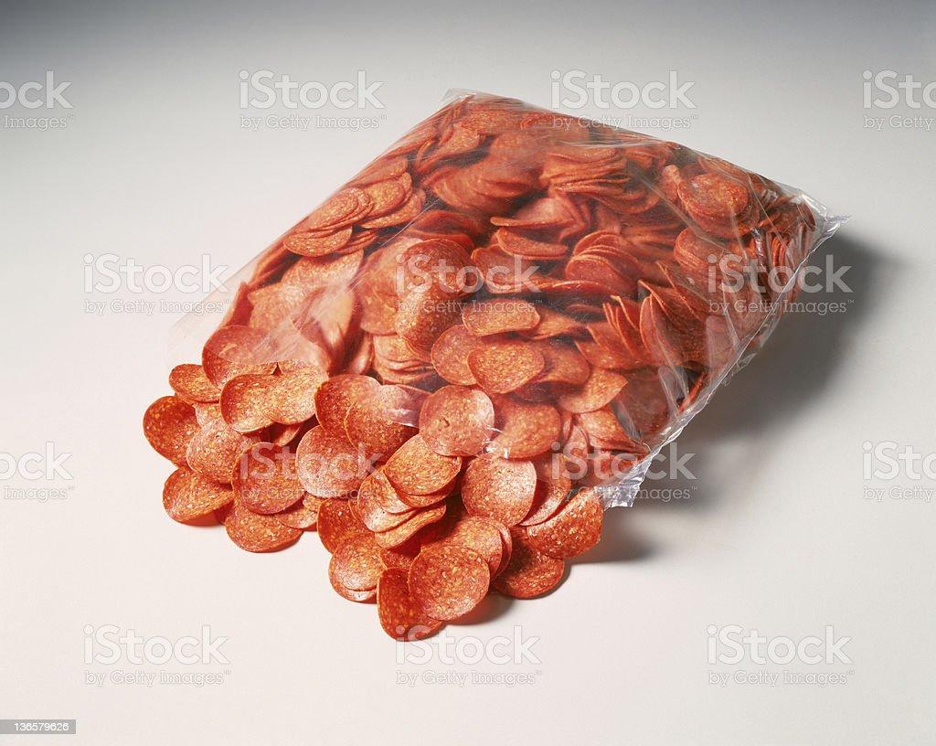 Bag of Pepperoni royalty-free stock photo