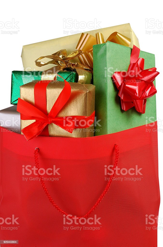 Bag of presents royalty-free stock photo