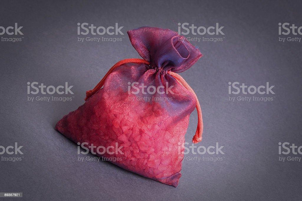 Bag of red precious stones royaltyfri bildbanksbilder