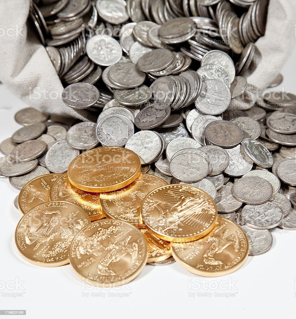 Bag of silver and gold coins royalty-free stock photo
