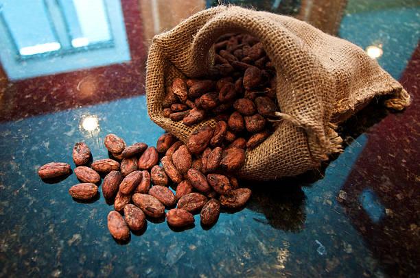 Bag of spilt cocoa beans stock photo
