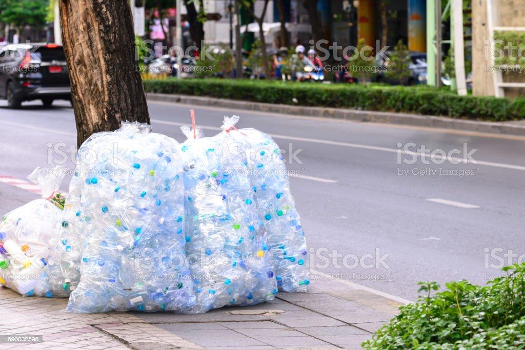 Bag of used platstic bottle. stock photo