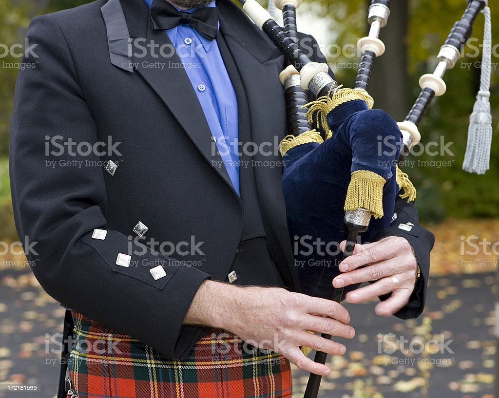 Bag Pipe Player stock photo