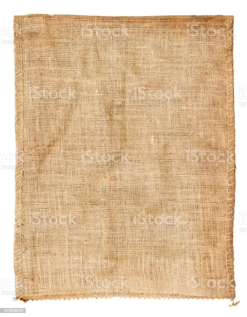 Bag Sackcloth woven texture of natural brown with Stitches Seam isolated on white background. With clipping path. stock photo