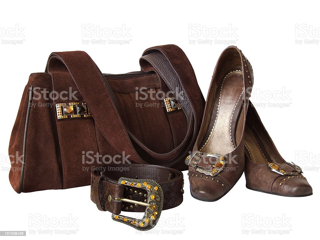 Bag, shoes and belt isolated on white royalty-free stock photo