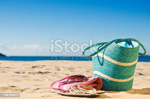 istock Bag sitting on sand at the beach 146794912