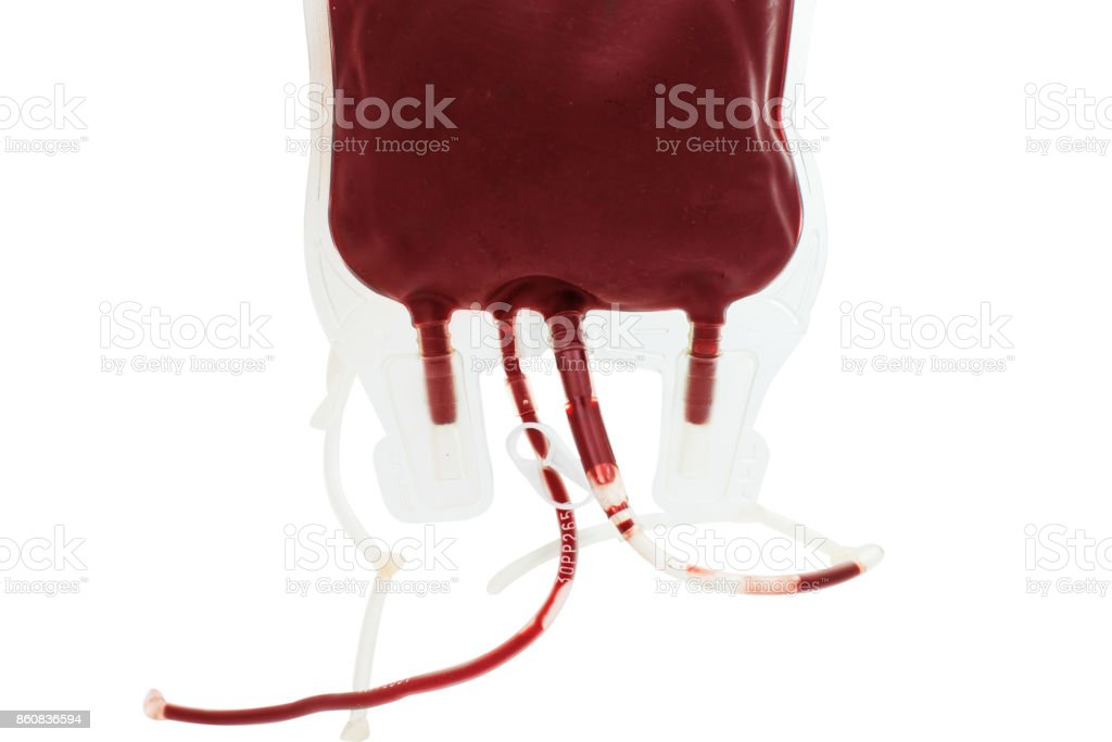 Bag with blood isolated - fotografia de stock