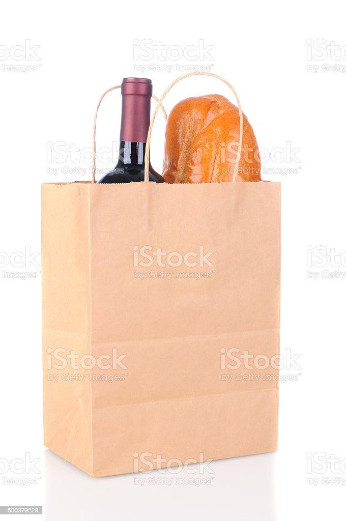 Bag with Bread and Wine stok fotoğrafı