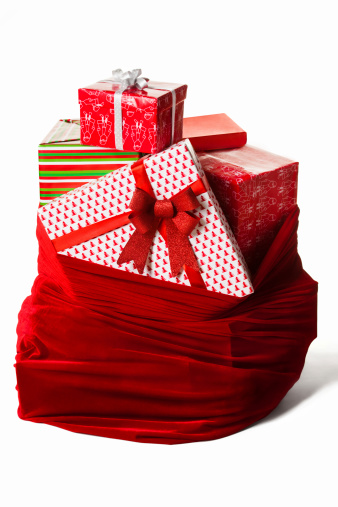 Bag with christmas presents isolated