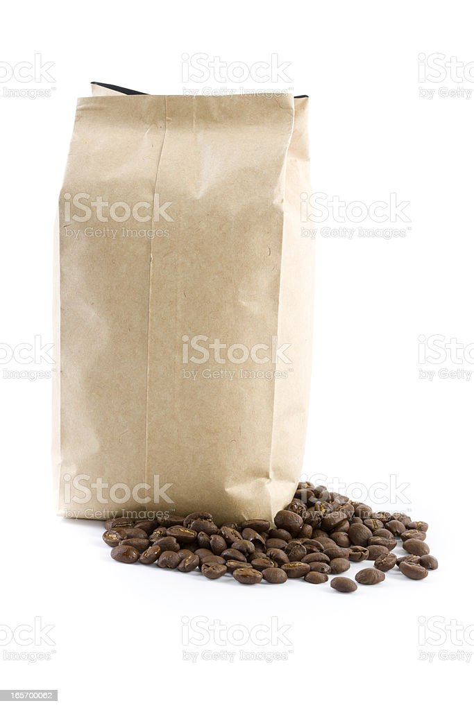 bag with coffee beans isolated on white royalty-free stock photo