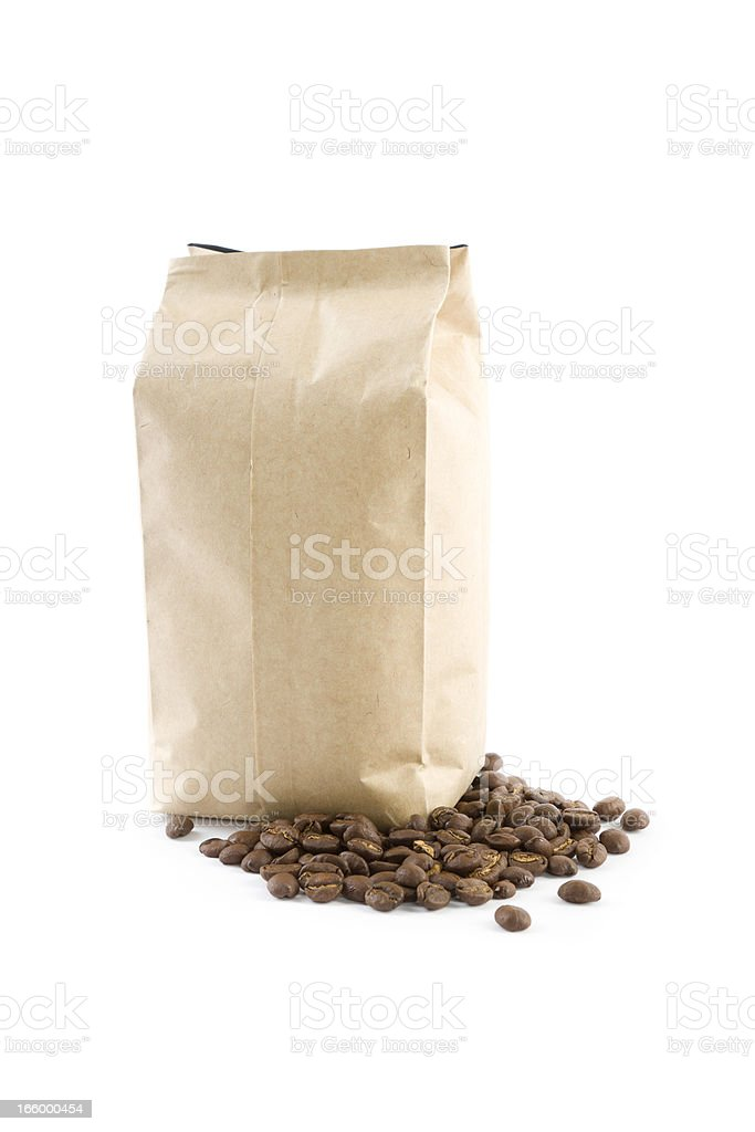 bag with coffee beans isolated on white stock photo
