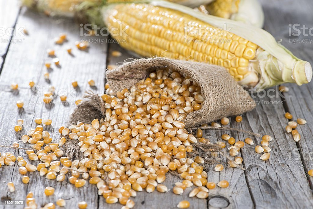 Bag with dried Sweetcorn royalty-free stock photo