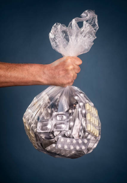 Bag with drugs stock photo