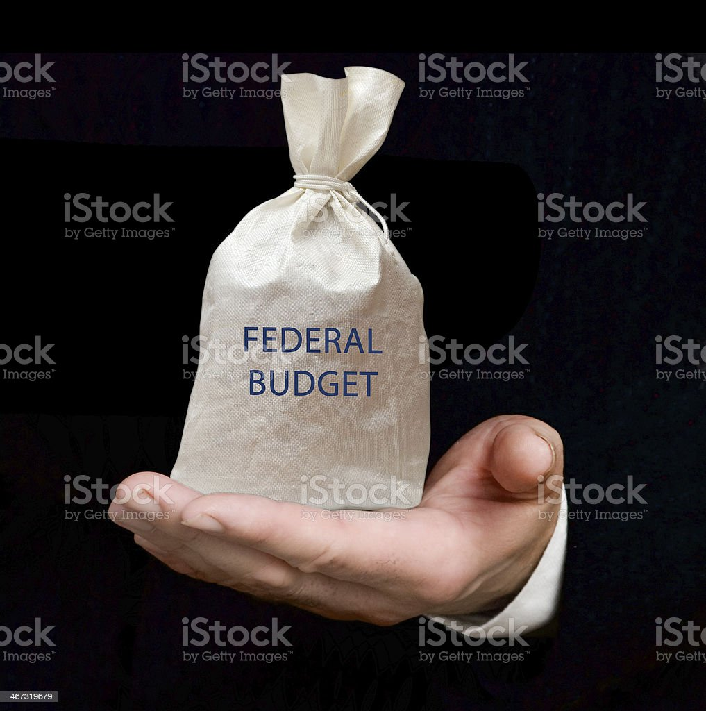 Bag with federal budget stock photo