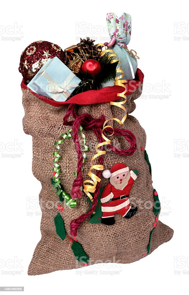bag with gifts Santa Claus stock photo