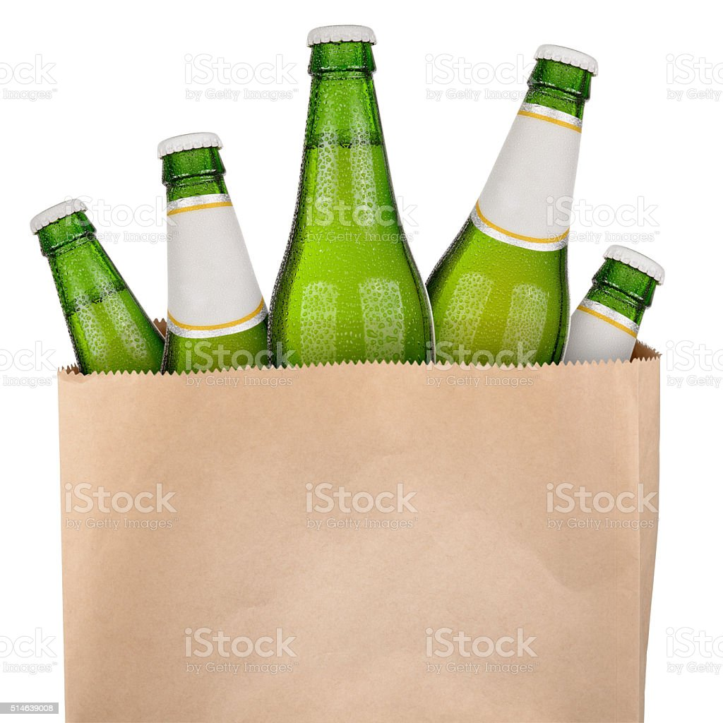 Bag with green beer stok fotoğrafı