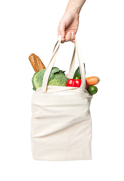 Bag with grocery purchase stock photo