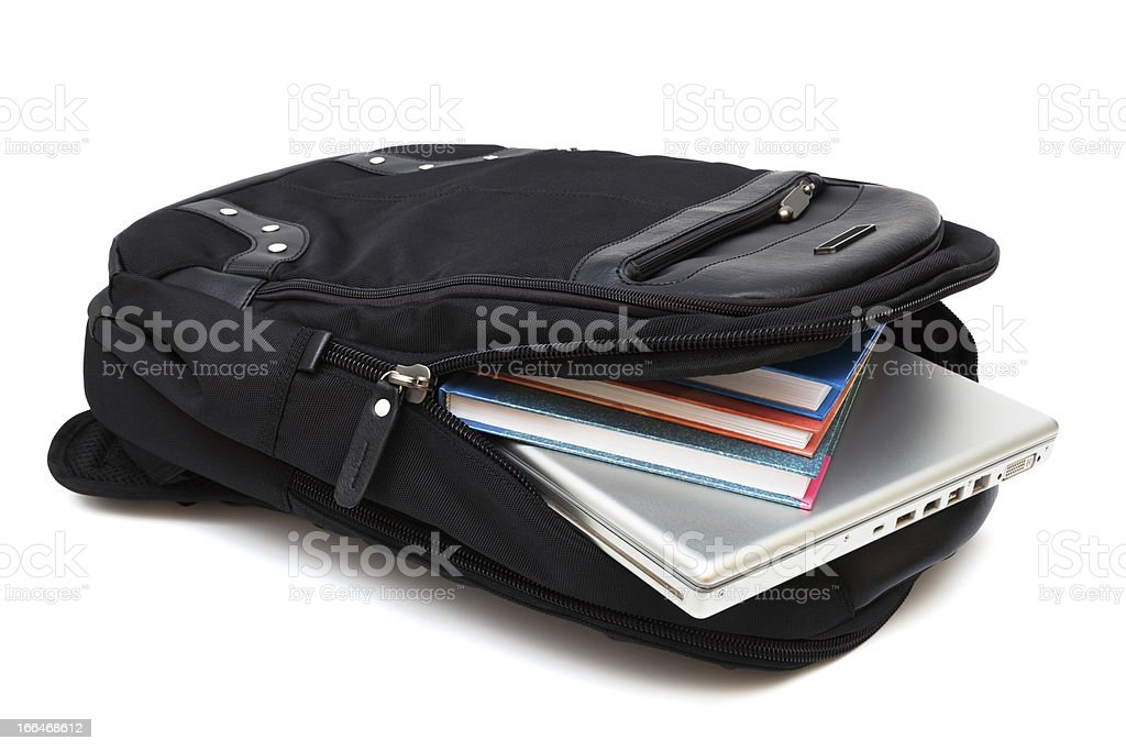 bag with laptop and books stock photo