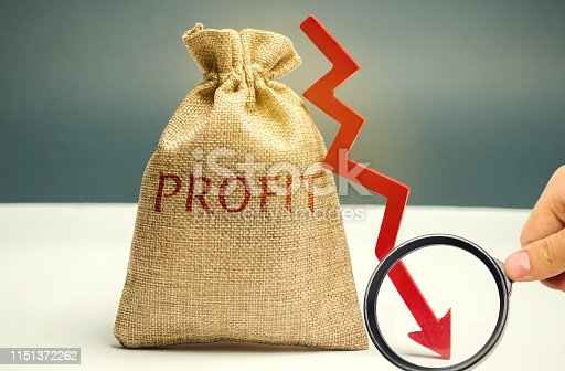 istock Bag with money and word profit and down arrow. Unsuccessful business and poverty. Profit decline. Loss of investment. Low wages. Economic crisis. The fall of the financial market 1151372262