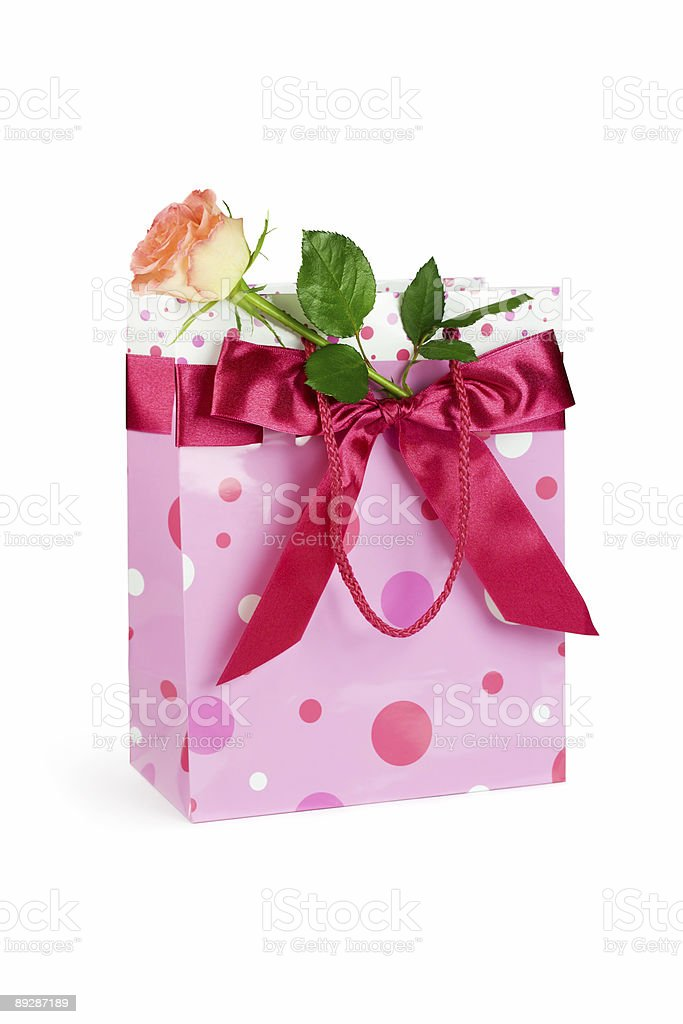 Bag with rose royalty-free stock photo