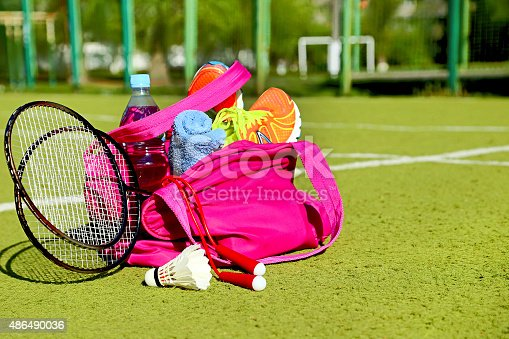 istock Bag with sports equipment on the sports courts. 486490036
