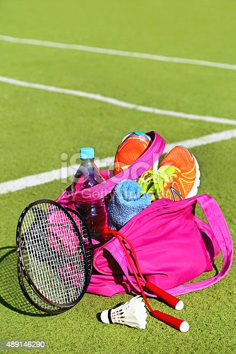 istock Bag with sports equipment on the sports courts. 489146290