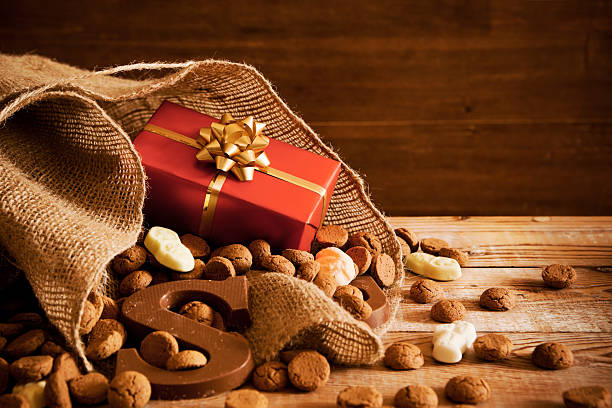 Bag with treats, for traditional Dutch holiday 'Sinterklaas' stock photo