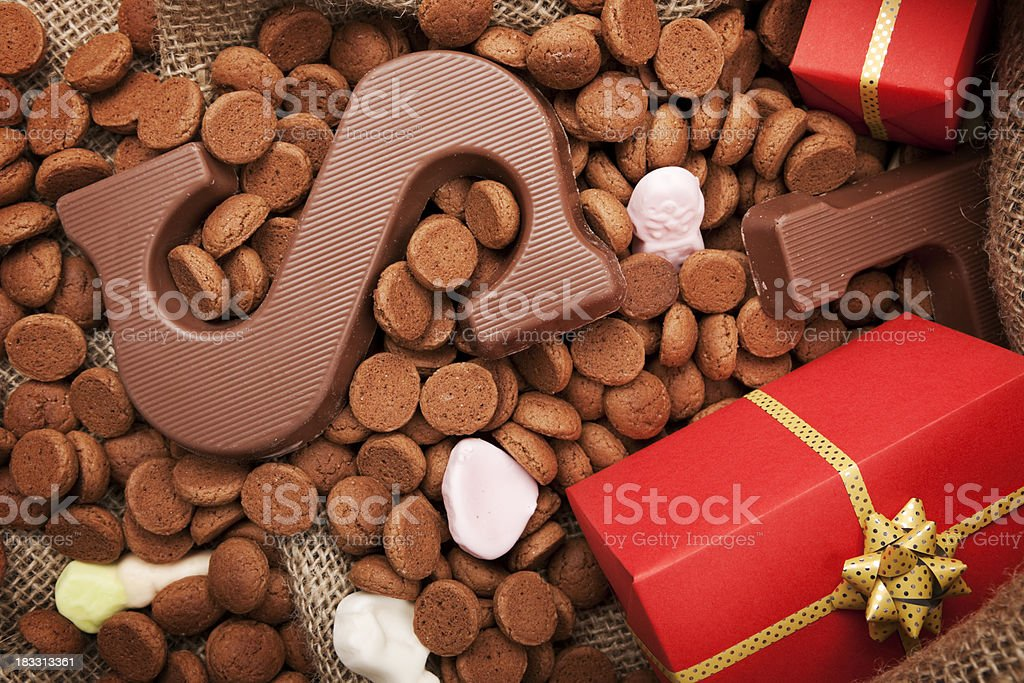 Bag with treats, for traditional Dutch holiday 'Sinterklaas' royalty-free stock photo