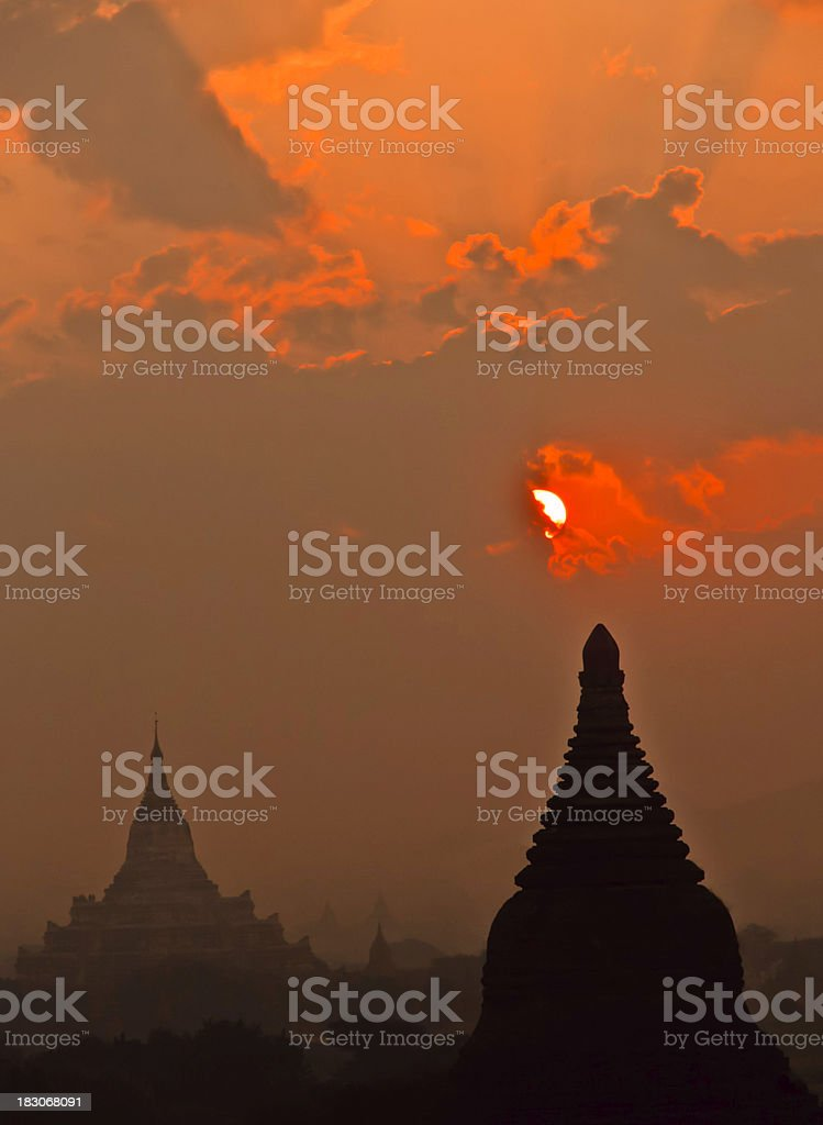 Bagan, Burma: Temples at Dawn in heavy Dust and Haze royalty-free stock photo