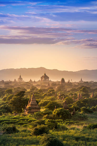 Bagan historical site on magical sunset Myanmar Bagan historical site on magical sunset with beautiful sky and Buddhist temples panoramic view, Bagan Archaeological Zone at Bagan Myanmar myanmar stock pictures, royalty-free photos & images