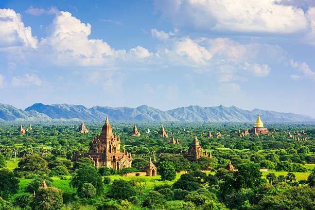 Bagan Myanmar Archeological Zone Bagan, Myanmar temples in the Archaeological Zone. myanmar stock pictures, royalty-free photos & images