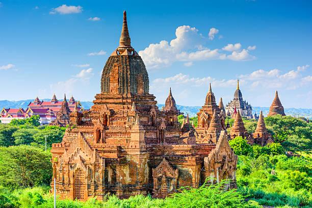 Bagan, Mynmar Archeological Zone Bagan, Myanmar temples in the Archeological Park. myanmar stock pictures, royalty-free photos & images