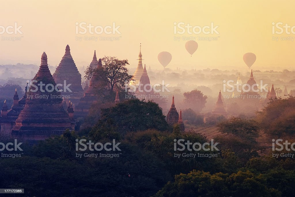Bagan pagodas stock photo