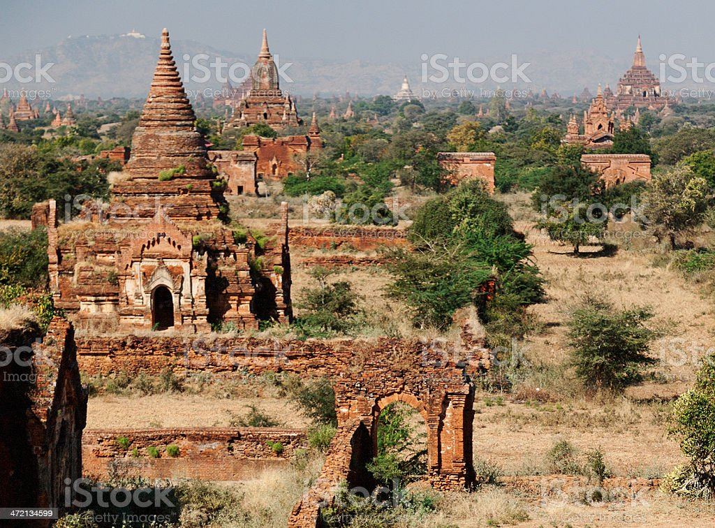 Bagan Skyline, Myanmar royalty-free stock photo