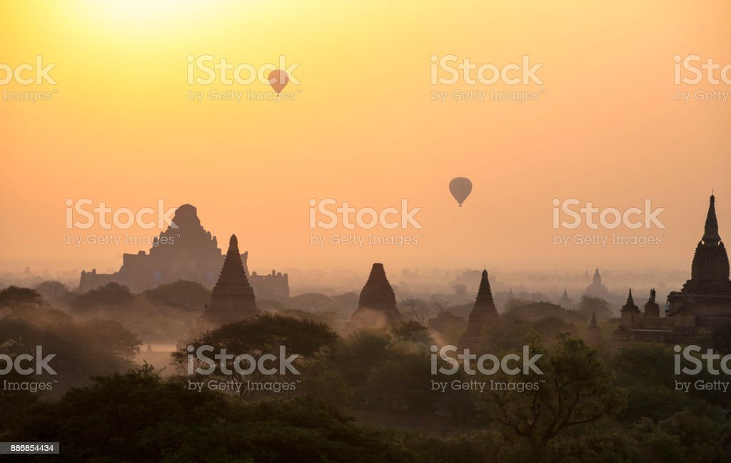 Bagan sunrise organge stock photo