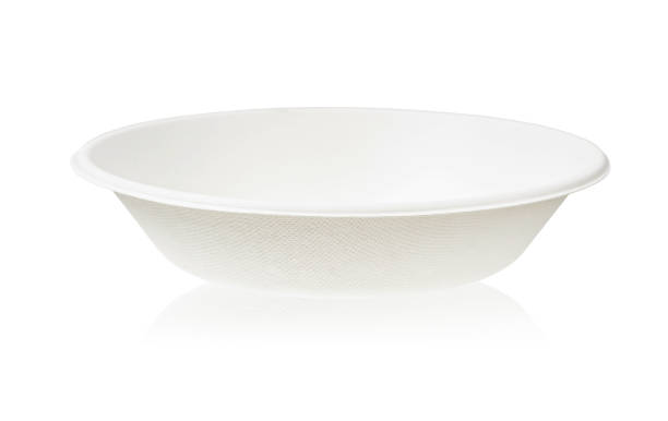 Bagasse bowl for food isolated on white background stock photo