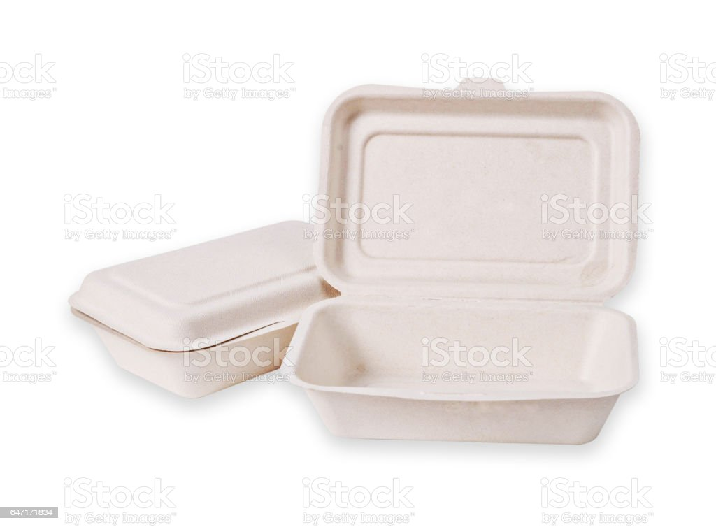 Bagasse box for food stock photo