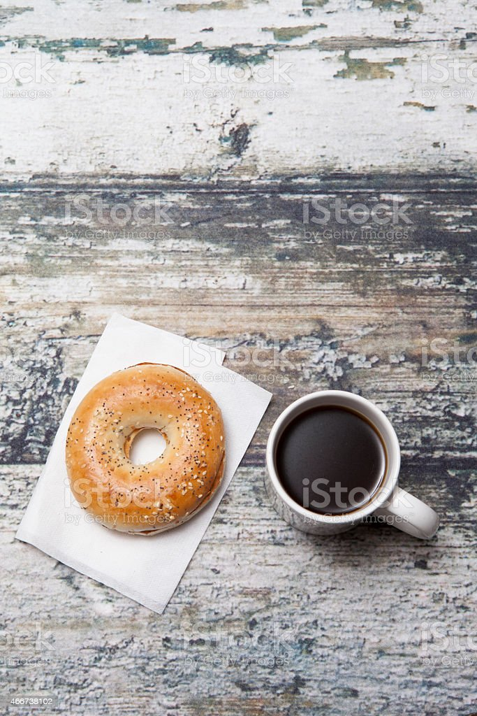 Bagel and coffee stock photo