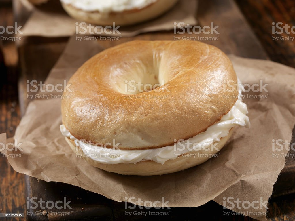 Bagel and Cream Cheese stock photo