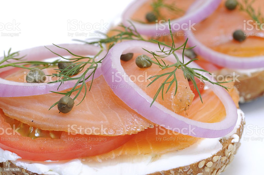 Bagel and Smoked Salmon stock photo