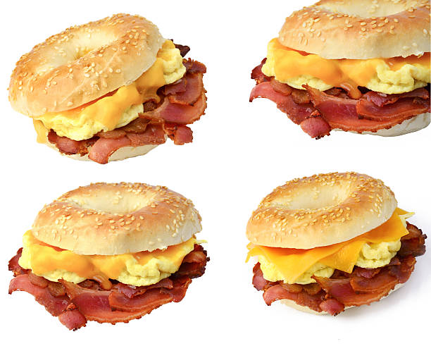 Bagel bacon, egg and cheese sandwich stock photo