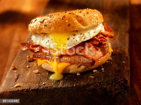 Bacon, Egg and Cheese Breakfast Sandwich on a Toasted Bagel - Photographed on Hasselblad H3D2-39mb Camera