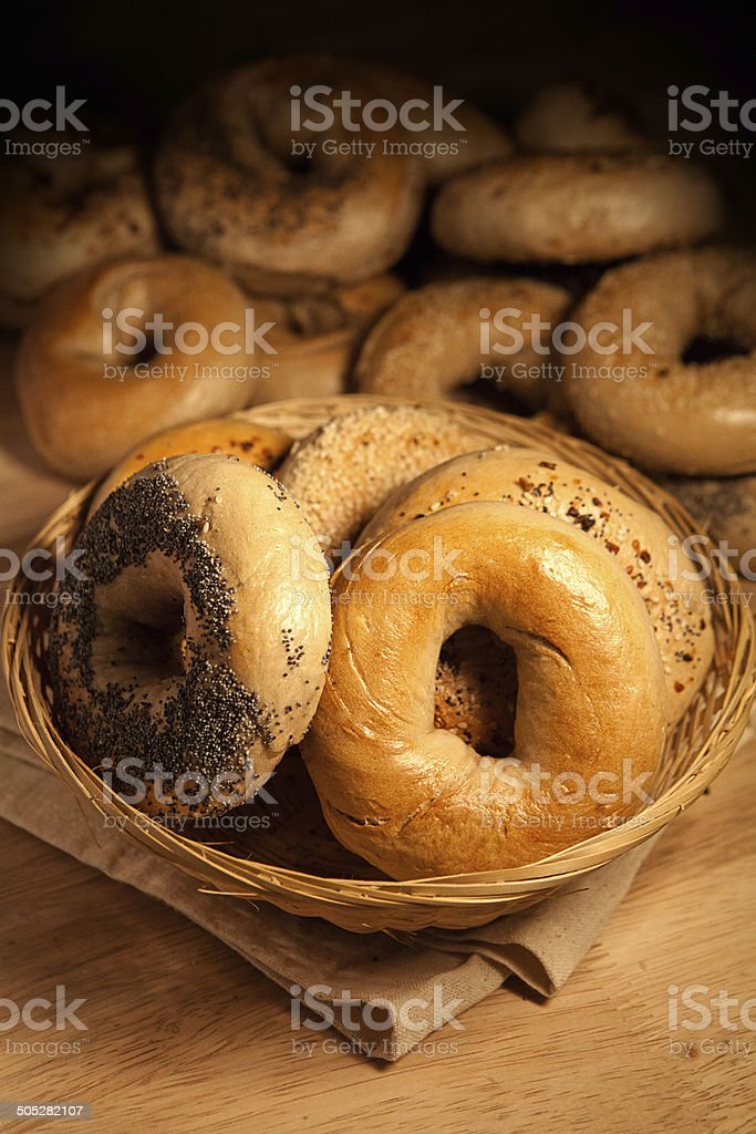 Bagel basket stock photo